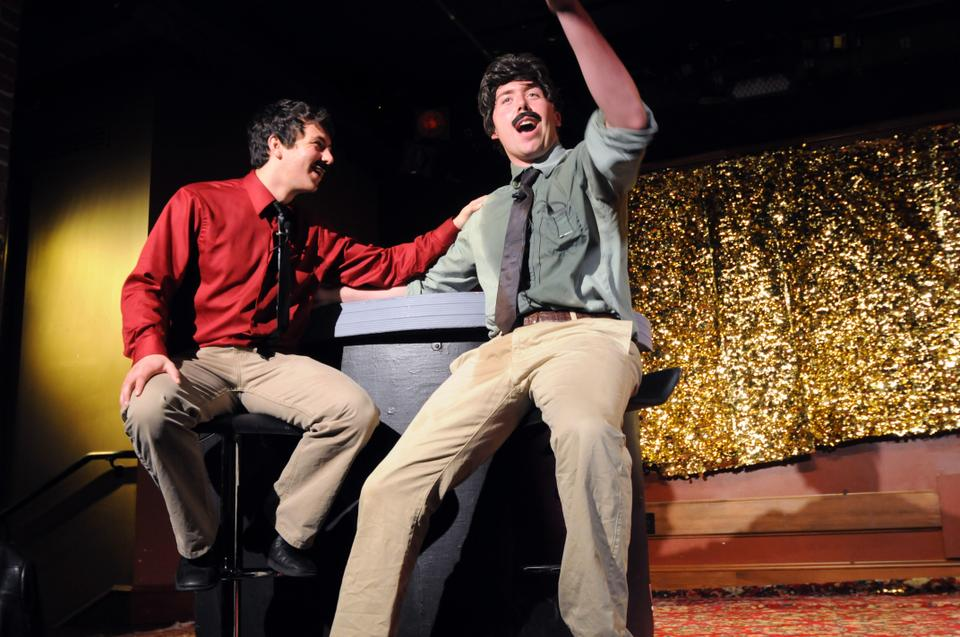 In Thursday night's performance of Highway 91, Jordan Colman '15, left, and John Holland-McCowan '15 share a laugh playing Mario and Luigi, respectively.  Written by Kristi Bradford '12, Highway 91 is the first student production to be performed in the Cambridge Queen's Head Pub.