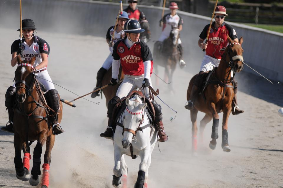 Dawn Jones, wife of Tommy Lee Jones '69, leads the alumni in the third chukker comeback against the senior team. This past year, Jones won the U.S. Women's Open in polo.