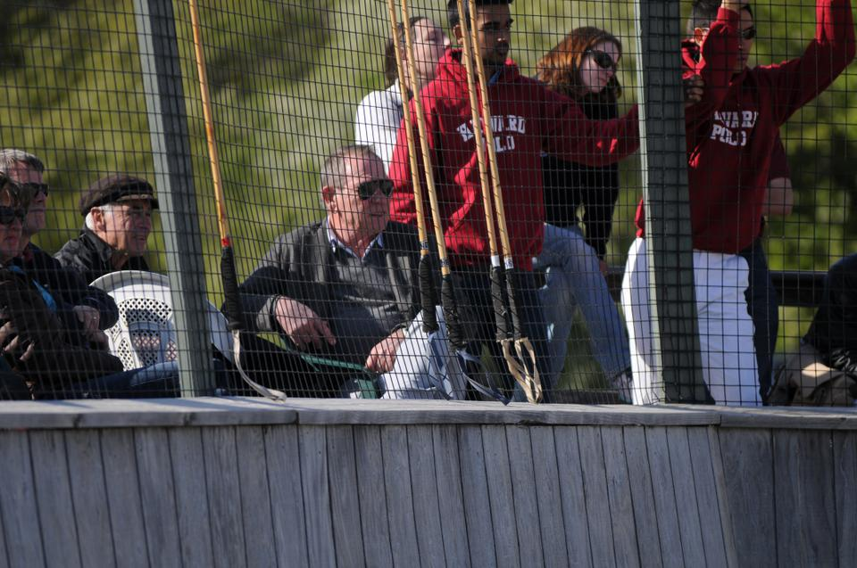 Tommy Lee  Jones '69 makes an appearance at the alumni polo game on Saturday afternoon.  Jones is an avid fan and financial supporter of the Harvard Polo Team. His wife played in the match.