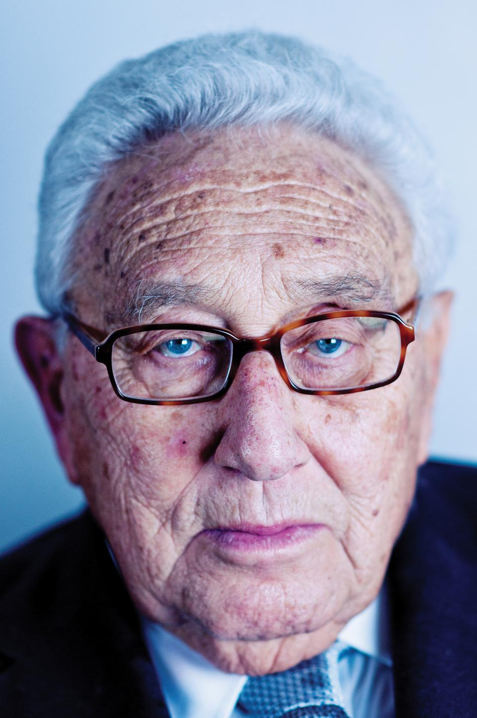 "Henry Kissinger sits for a portrait on April 12 after the ""Conversations with Kissinger"" event at Sanders Theatre. Some students protested Kissinger's appearance."
