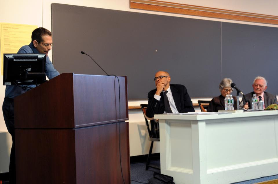 Mark Solovey (Toronto), speaks about the implications of the Occupy Movement in a panel at the Warren Center.  Jeffrey Stewart (UCSB), Immanuel Wallerstein (Yale), Linda Gordon (NYU) also spoke at the panel.