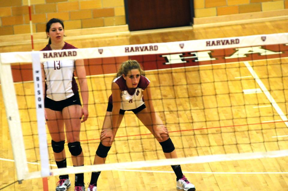 14 kills from captain Taylor Docter (right) and 26 assists from senior Beth Kinsella, both shown here in earlier action, were not enough in the Harvard women's volleyball team's 3-2 season-opening loss to Middle Tennessee State on Friday.