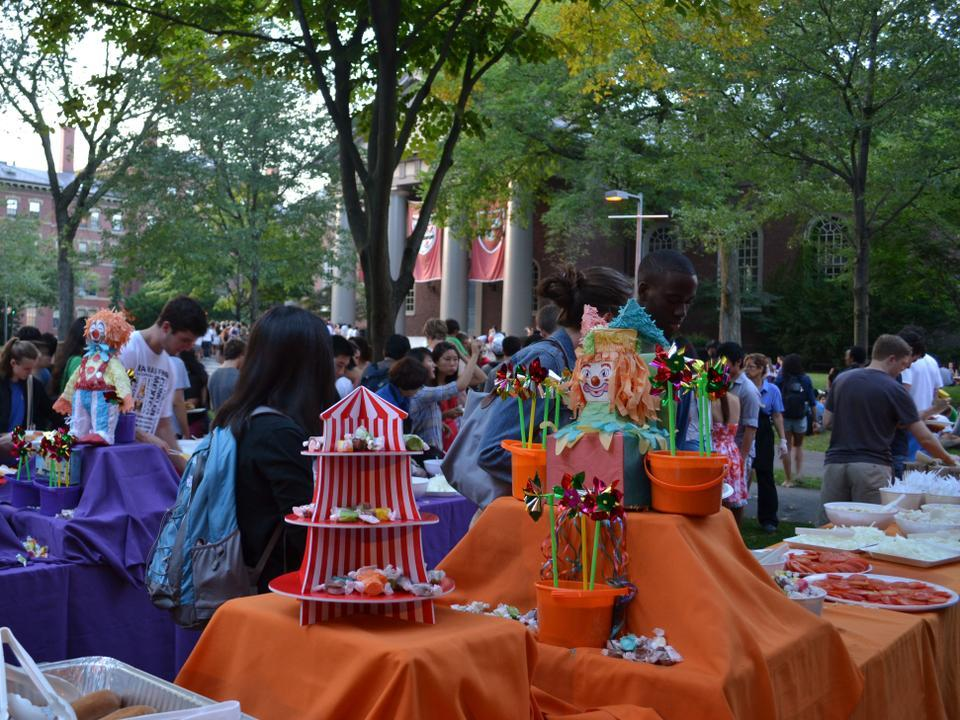 Students gather at Tercentary Theatre for food, games, and other activities at the annual Welcome Back Event.