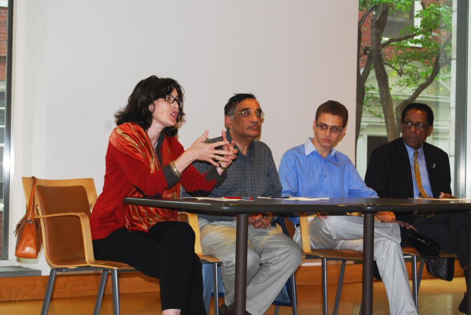 Malika Zeghal, Professor of Contemporary Islamic Thought and Life, discusses the current crisis surrounding the Middle East on Tuesday evening on a panel with fellow Professors Ali Asani and S. Allen Counter, along with a student representative from the Harvard Islamic Society.