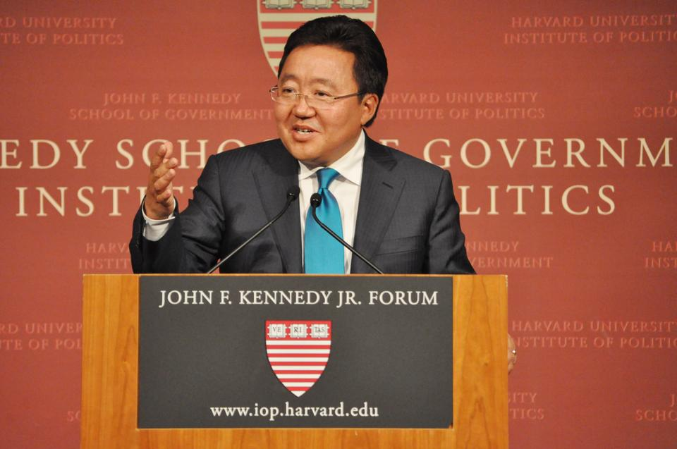 His excellency Tsakhiagiin Elbegdorg, President of Mongolia and HKS '02, makes a public address about Mongolia's peaceful transition into capitalism and Democracy at the John F. Kennedy Jr. Forum on Friday, September 21.