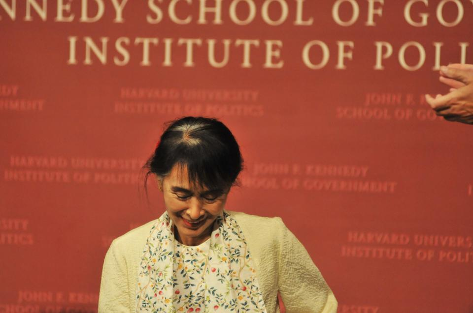 Aung San Suu Kyi spoke about the development of democracy in Burma at the John F. Kennedy Jr. Forum in 2012.