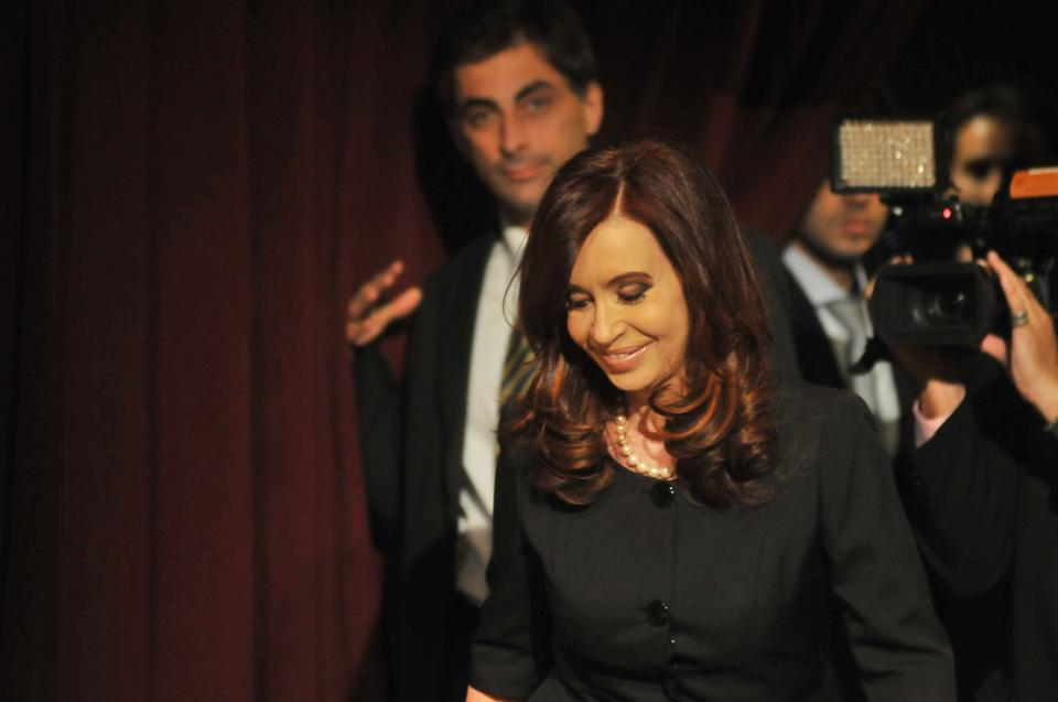 President of Argentina Cristina Fernandez de Kirchner enters the JFK Jr. Forum on Thursday evening. During her lecture, Kircher touched on the controversial policies that she has supported as President, including Argentina's growing protectionism.