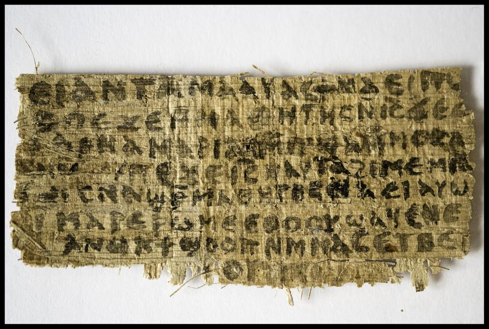 The papyrus fragment above is the portion that Harvard Divinity School Professor Karen L. King believes to feature evidence that Jesus was married, a claim that has been disputed by the Vatican.