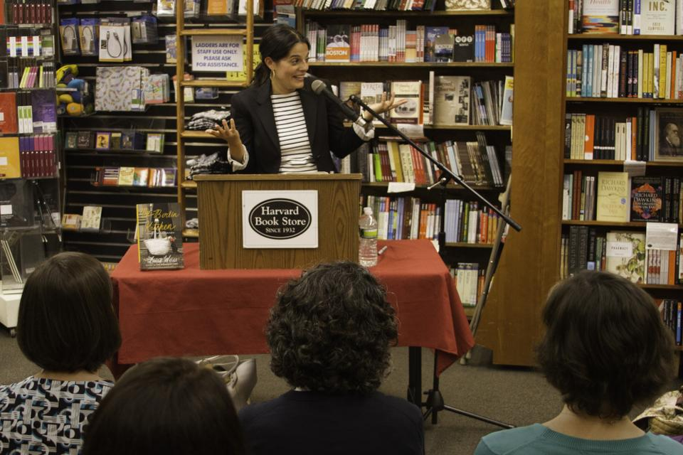 "Luisa Weiss answers questions from the audience after reading from her memoir ""My Berlin Kitchen: A Love Story (With Recipes)"" at Harvard Book Store on October 12, 2012."