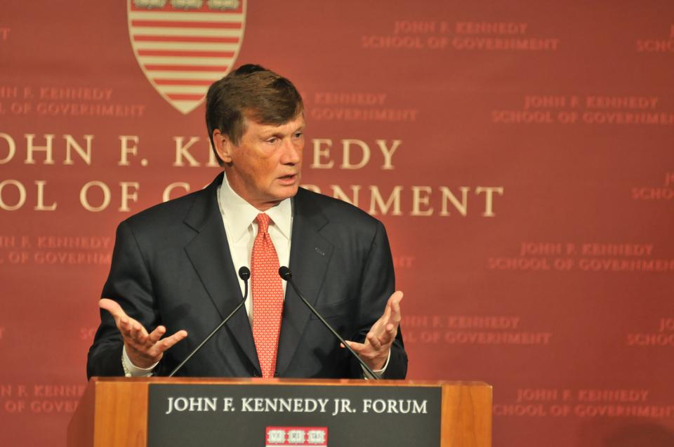 Charles E. Haldeman gives the 2012 Glauber Lecture Thursday night at the John F. Kennedy Jr. Forum. Haldeman spoke about the affairs and operations of Freddie Mac during his time as the company's CEO, which began in 2009 and ended earlier this year.