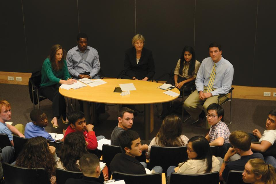 President Drew Faust answers questions at the  Undergraduate Council and Harvard Graduate Council General Meeting. Her presence at the open forum was driven by a motivation to increase contact and dialogue with students.