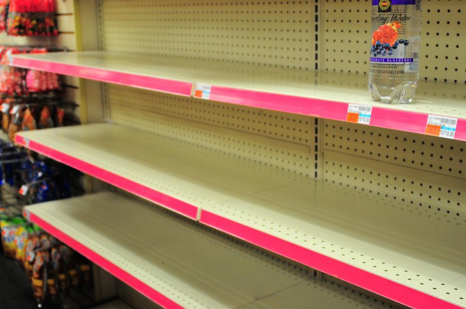 The shelves of CVS were emptied of water and non-perishables Sunday night as students and area residents prepared for the arrival of Hurricane Sandy, which led to the cancellation of Monday classes.