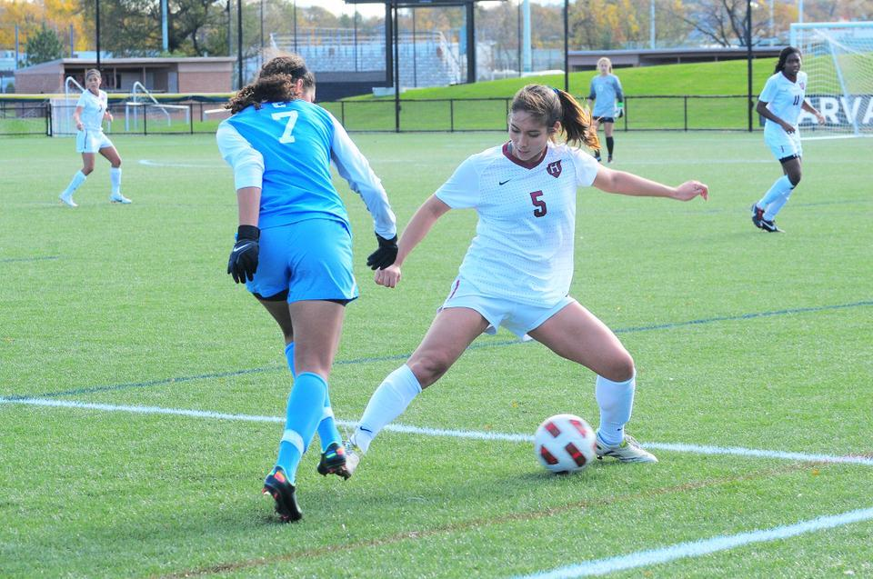 Senior midfielder Aisha Price set up the Harvard women's soccer team's lone goal in its 1-0 victory over Columbia on Saturday at Soldiers Field Soccer/Lacrosse Stadium. Late in the contest, Price's cross found freshman Brooke Dickens, who scored the game's only goal.