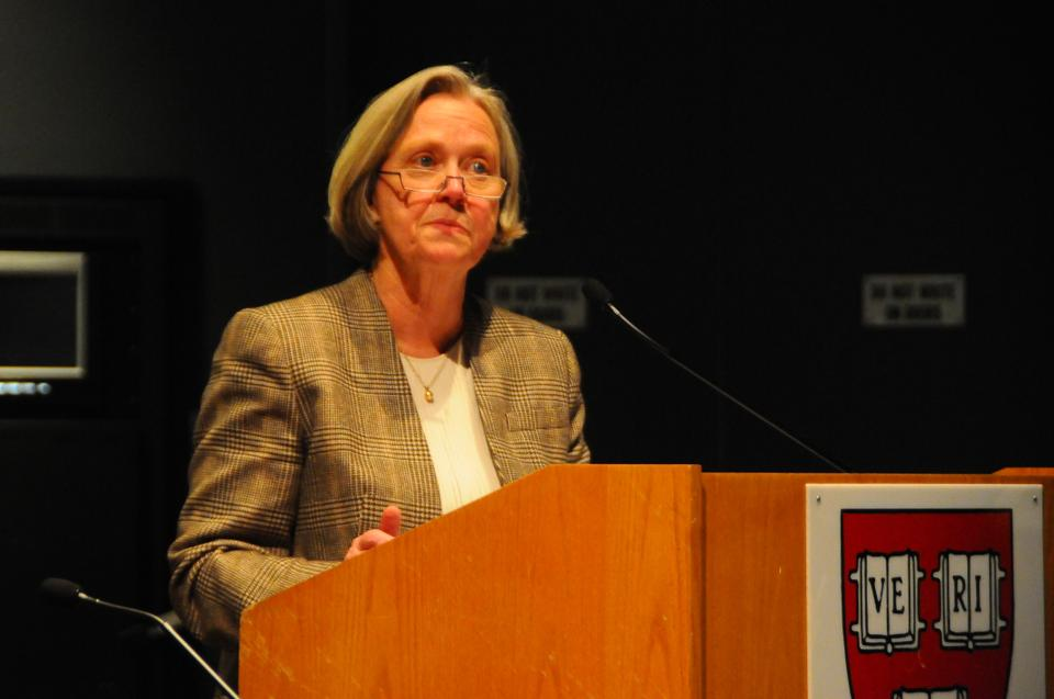 """Shirley M. Tilghman, President of Princeton University, speaks at a Science Education Lecture titled """"Inverting the Pyramid"""" this Tuesday (11/13) at the Science Center."""