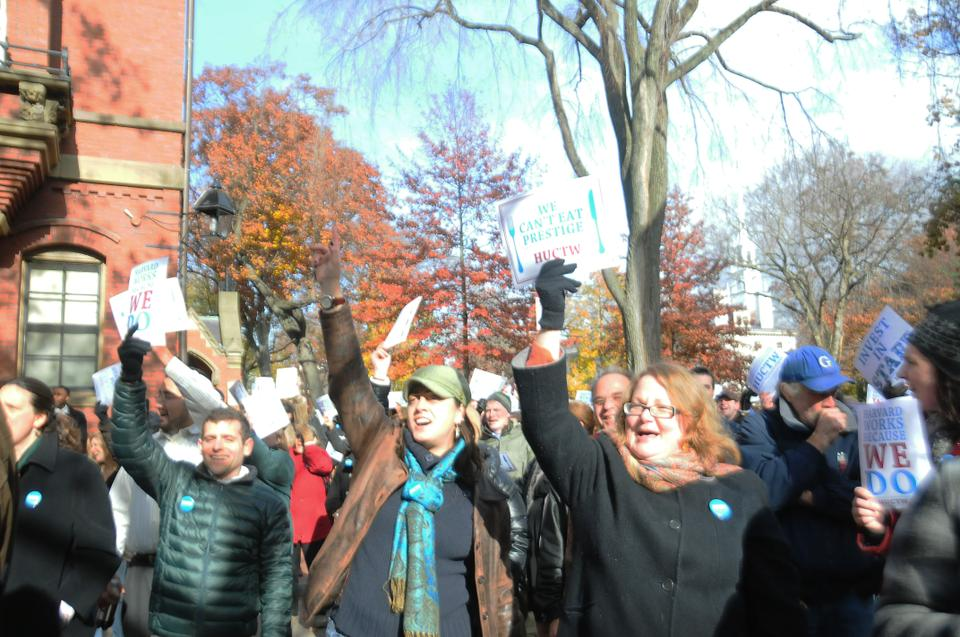 Members of the Harvard Union of Clerical and Technical Workers, students, and other members of the Harvard Community gather in Harvard Yard to rally for a fair contract on November 15, 2012. The HUCTW is asking for a fair contract including raises that keep up with inflation and better health care costs.