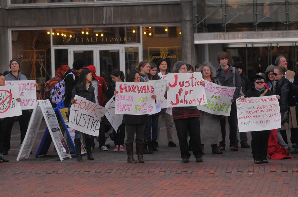 Members of the Harvard community gather in front of the Holyoke Center for a rally in support of Johany Pilar, a clerk in the Harvard Yard Mail Center on Friday November 16, 2012. Johany Pilar, and her HUCTW representative, Geoff Carens have been asking for an investigation into and action on the treatment of Johany's claims of sexual harassment in the mailroom.