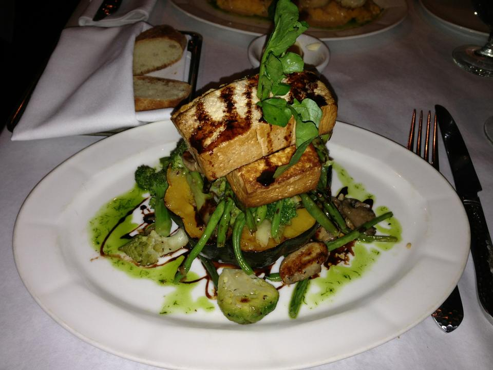 Roasted Acorn Squash ($20) with sautéed fall vegetables and marinated tofu