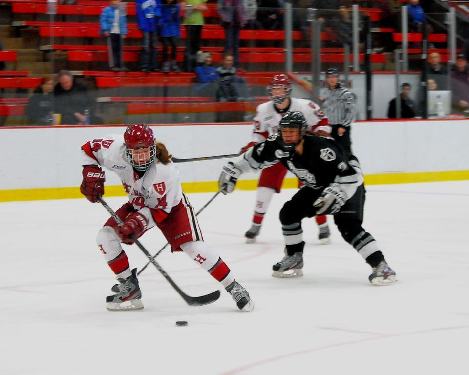 Crimson co-captain Jillian Dempsey, shown in earlier action, led a high-powered attack that pounced on Union early and did not relent. Behind Dempsey, Harvard outshot Union, 42-13, in the matchup.