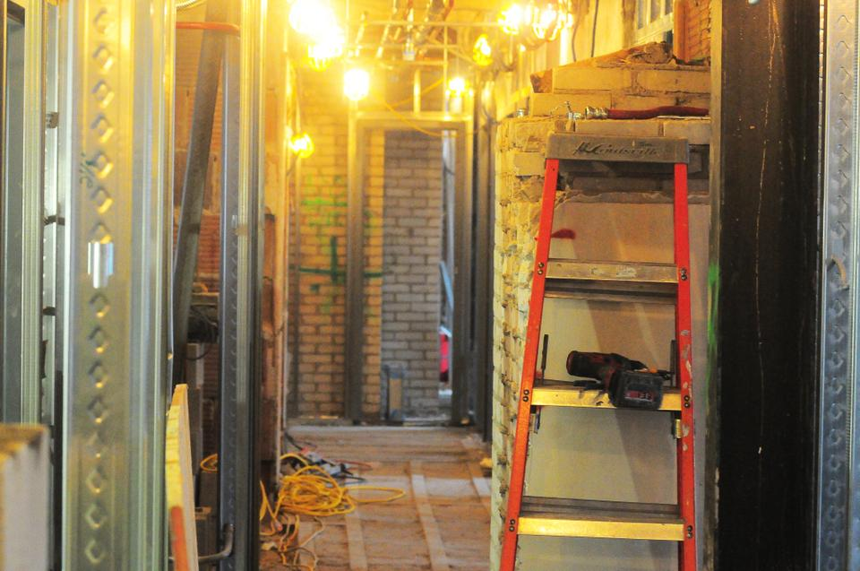 The insides of Quincy are bare and spooky, but construction is well under way and should be done around mid-August 2013.