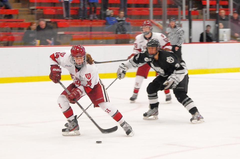Co-captain Jillian Dempsey skates up the ice en route to scoring one of her four goals against Providence on Friday night at the Bright Hockey Center. The Crimson topped the Friars by seven, 8-1.