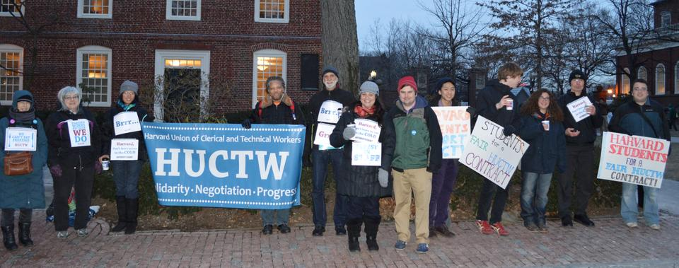 Members of the Harvard Union of Clerical and Technical Workers and student supporters protest outside of Massachusetts Hall on Tuesday to urge the University to agree to favorable terms in continuing contract negotiations.