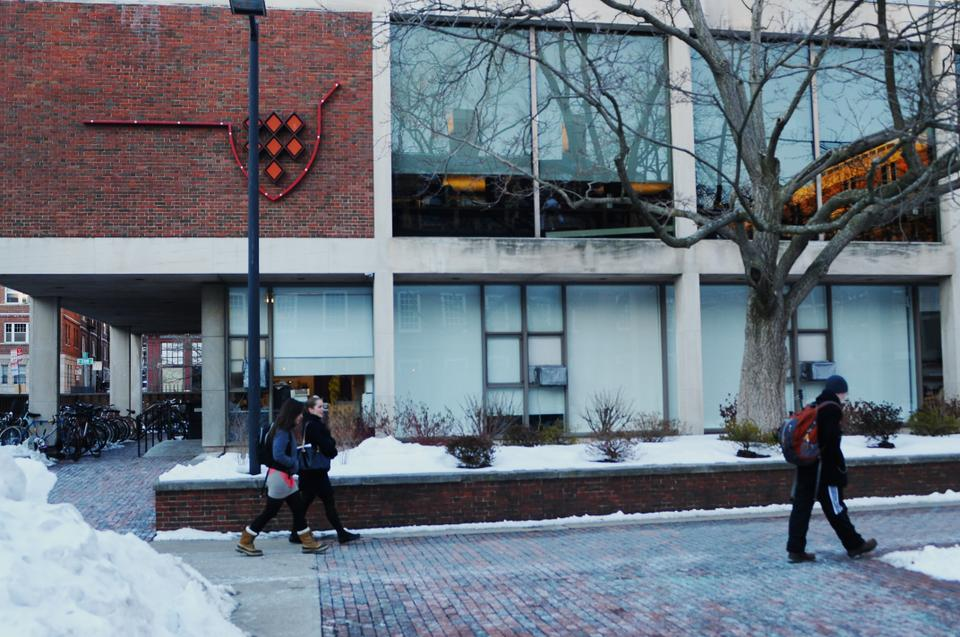 Students nonchalantly walk through Quincy Courtyard on Monday afternoon.  An assault occurred less than 24 hours before at 1:35 am early Monday morning.