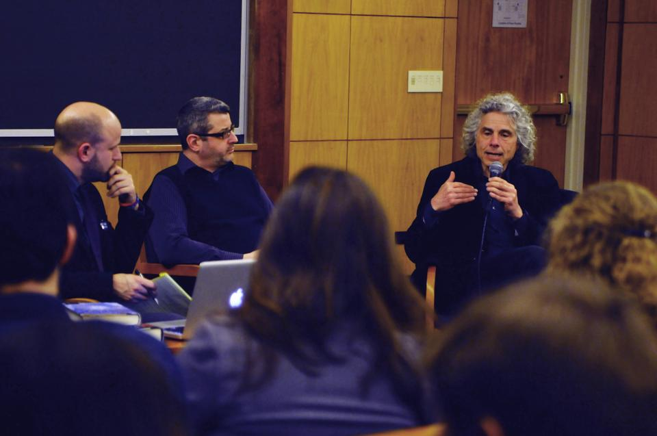 Humanist Chaplain Greg M. Epstein, Professor Andrew Jewett, and Professor Steven Pinker '79 debate about the importance of atheism in modern life in the panel, Why Atheism Matters, part of Atheism Coming Out Week.