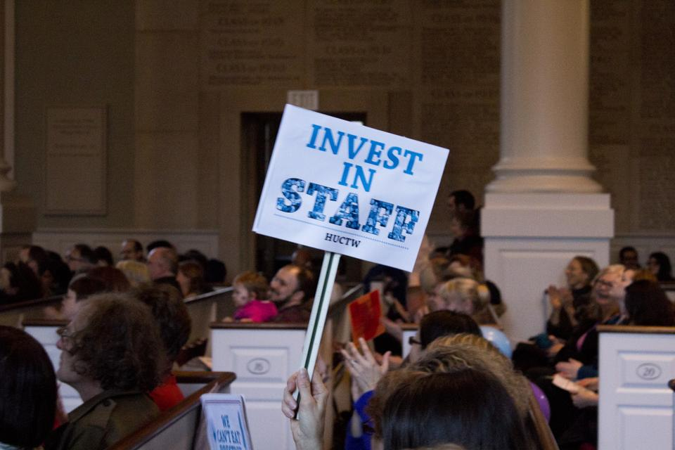 Union members, students, and community members marched to Memorial Church on Thursday to support the Harvard Union of Clerical and Technical Workers (HUCTW). Speakers called for salary increases and health care benefits from the University.