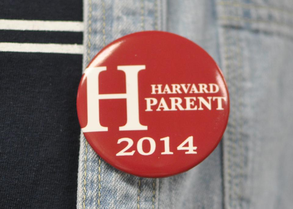 Junior Parents sported these iconic buttons all weekend at events, in dining halls and around Cambridge.