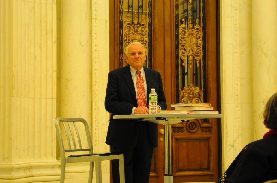 Dr. John E. Dowling '57 reads an excerpt from his book in the Widener Rotunda as a part of the Harvard College Dean's Book Talk Series on Tuesday evening. Dowling is one of the foremost authorities on vision.