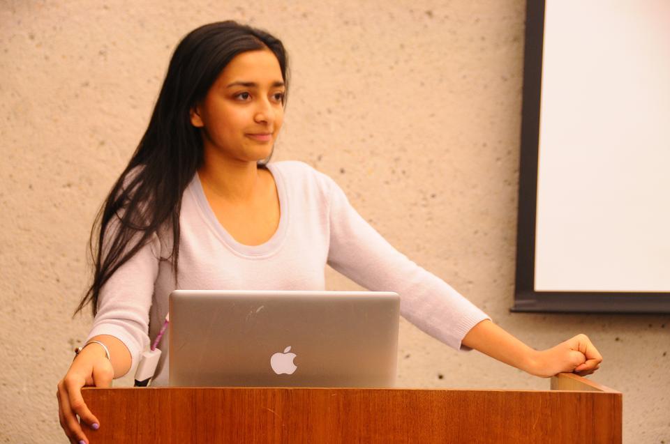 Tara Raghuveer '14 address student representatives.