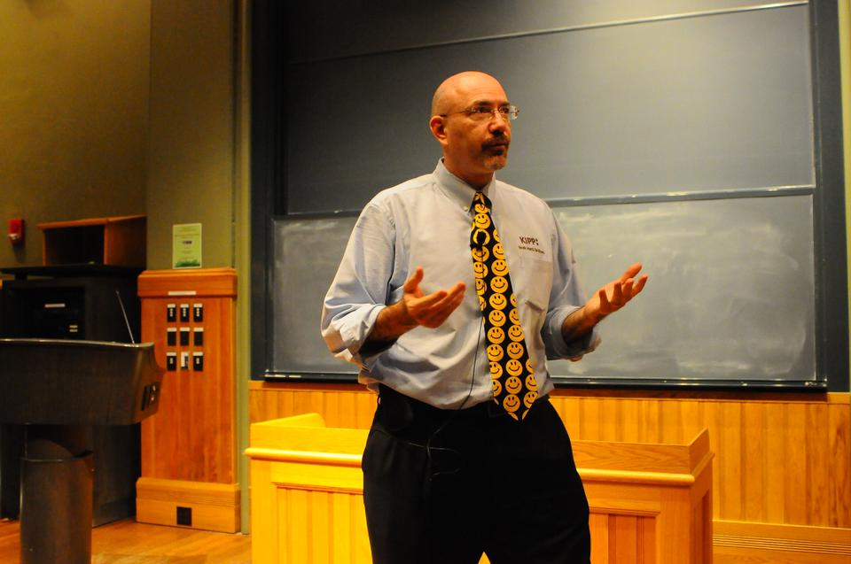 Michael Feinberg who established a network of charter schools called the Knowledge is Power Program reflects on his experiences in Sever Hall Monday night.  Feinberg engaged with the audience through thought experiments.