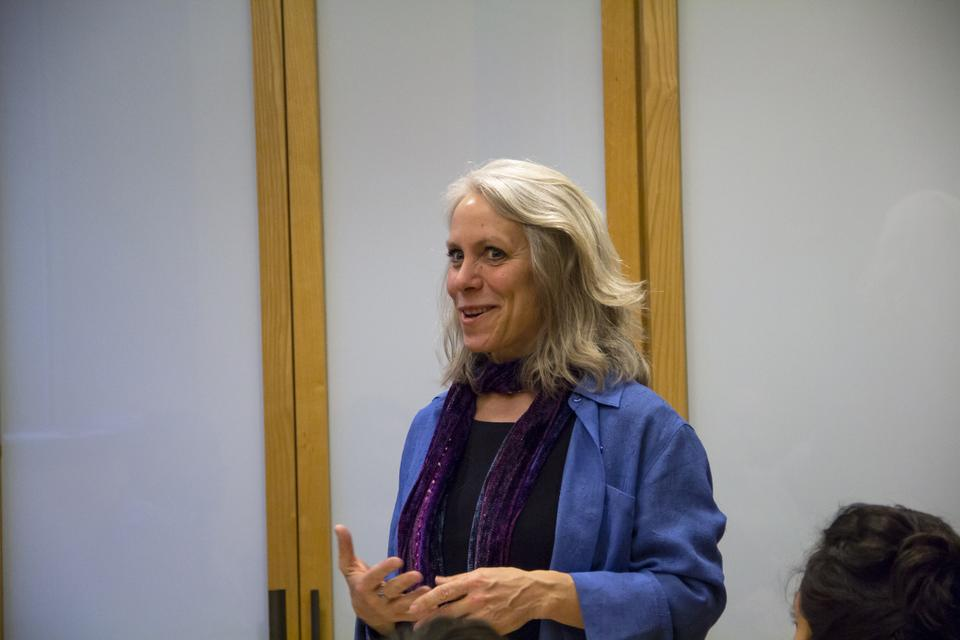Robyn Ochs, a BGLTQ activist, is leading the Beyond Binaries talk about gender and sexuality issues at Harvard on Thursday evening with a group of students.
