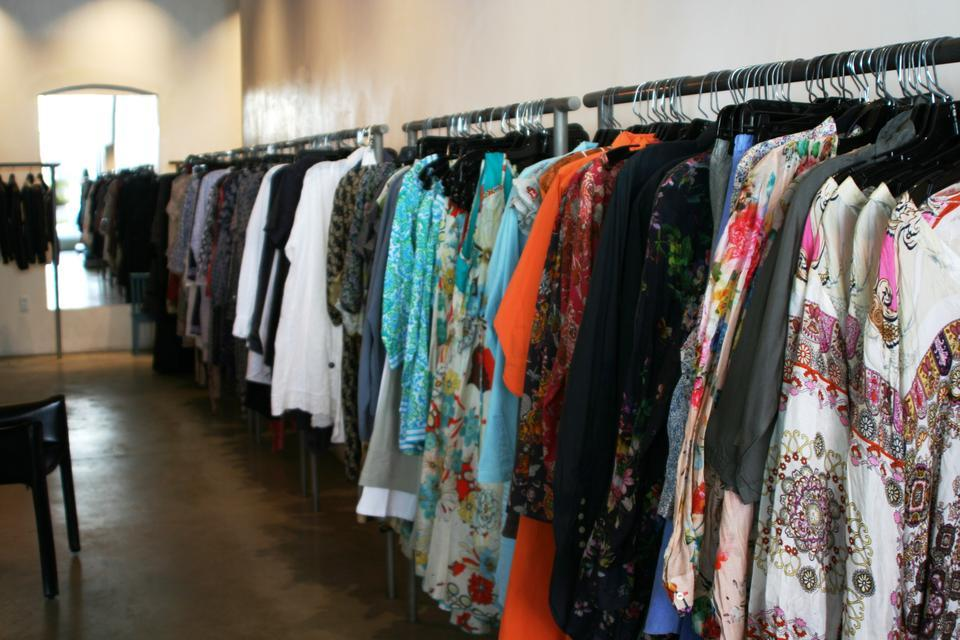 Spring styles line the racks of Tess & Carlos.