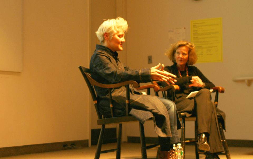 Visual artist Ann Hamilton discusses her pieces at the Sackler Museum on Wednesday evening.