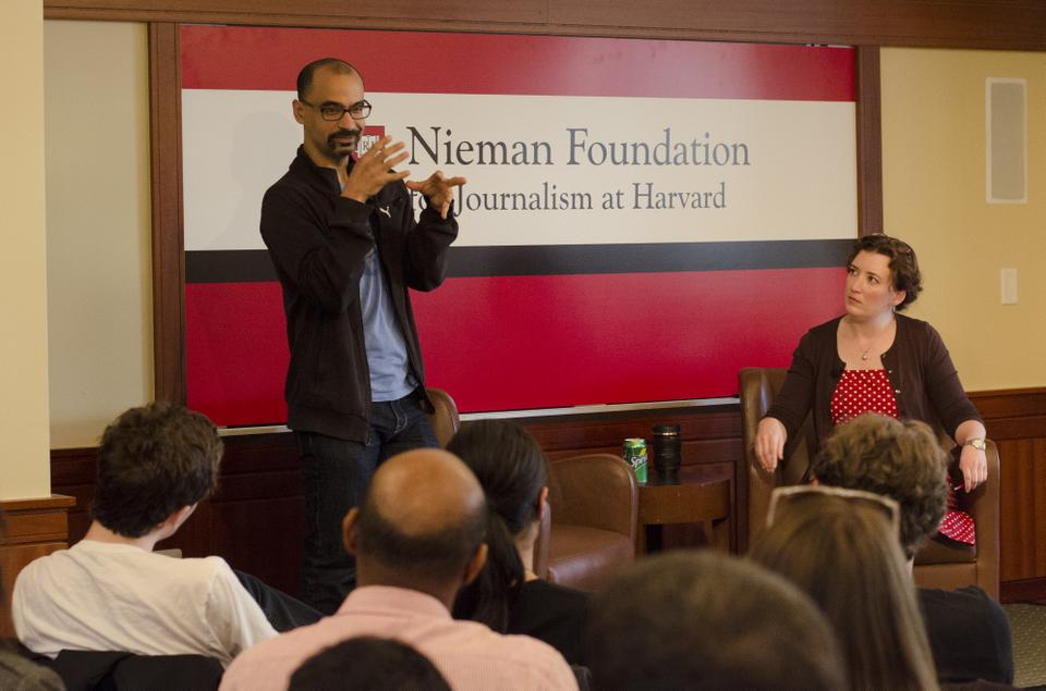 Acclaimed author Junot Diaz addresses the audience at the Nieman Foundation for Journalism. The room reached capacity a few minutes before the event began and many students were turned away.