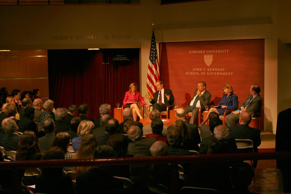 "Nina Easton moderates Monday night's panel discussion between Senior Fellow Paula Dobriansky, Distinguished Senior Fellow Ben Heineman, Professor of Business and Government Roger Porter, and Professor Lawrence Summers on ""Is America Working? What Business and Government Can Do."""