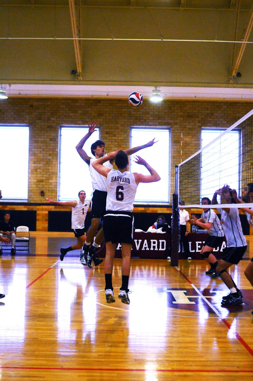 The men's volleyball team, shown here in earlier action, suffered a 3-0 defeat at the hands of Penn State to fall to second in the EIVA.