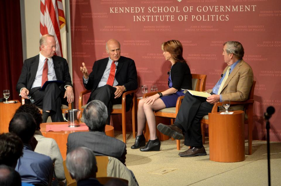 Co-Director of the Center for Public Leadership David Gergen moderates a conversation with Director of the Belfer Center of Science and International Affairs Graham Allison, Harvard Business School Professor of Business Administration Nancy F. Koehn and Harvard Kennedy School University Distinguished Service Professor Joseph S. Ny, Jr. on the Presidential Leadership and the Rise of American Power. The panelists discussed the history of the American presidency, reaction to crises and the nature of leadership itself.