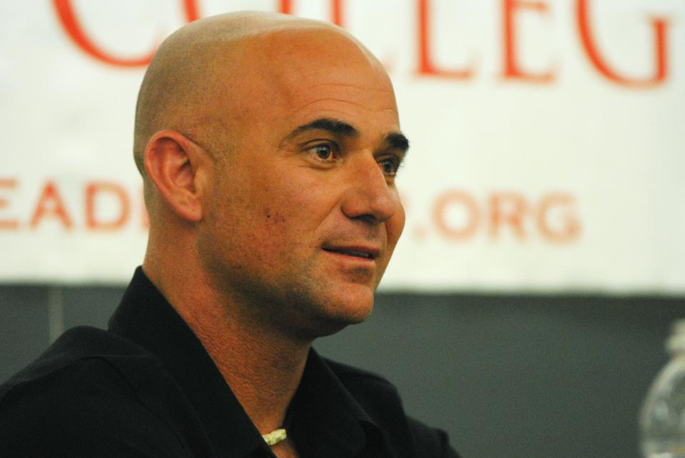 Andre Agassi talks to students about his tennis career and perfectionism, giving the advice to understand when things are out of one's control. Agassi was a guest of the Leadership Institute at Harvard College on Tuesday.