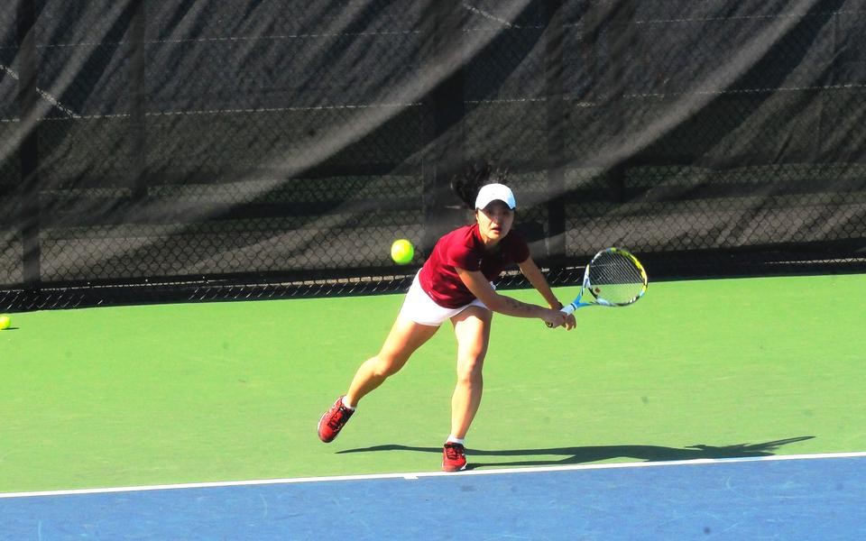 Senior Amy He, pictured in earlier action against Dartmouth, will captain the Crimson this year.