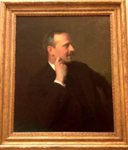 Located on the first floor of Widener, Joseph Randolph Coolidge (1887-1936) may be balding, but he is still a silver fox.  Here, Coolidge shows off his profile for all to see. What bone structure.