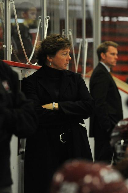 Harvard women's hockey coach Katey Stone led the US National Team in the 2014 Olympics in Russia, then returned to lead the Crimson to the NCAA Frozen Four.