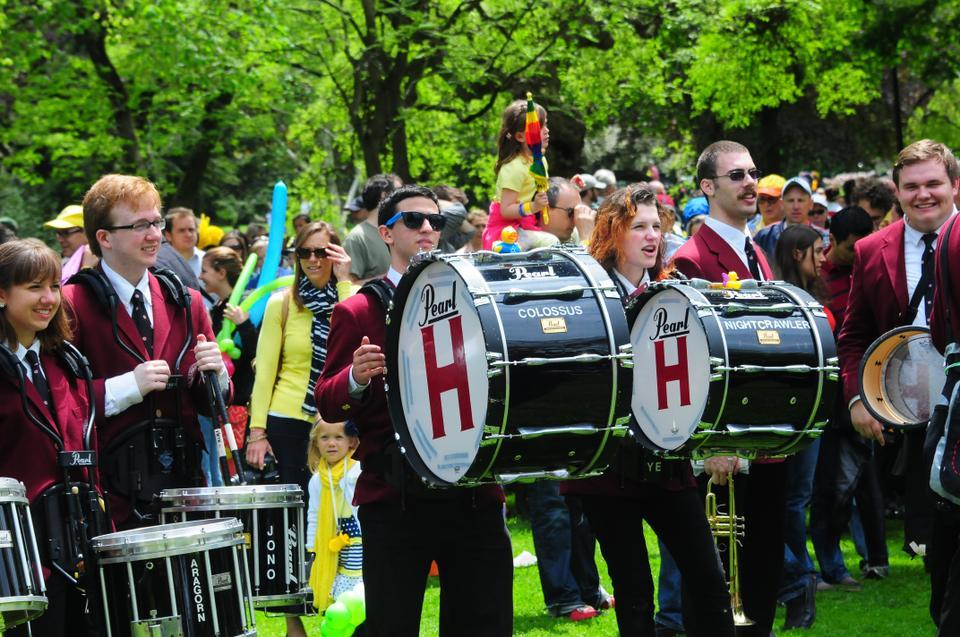 Eric Zuckerman '15 plays with The Harvard University Band at the Duckling Day Parade on Sunday. Duckling Day is an annual event held to benefit the Boston Public Garden.