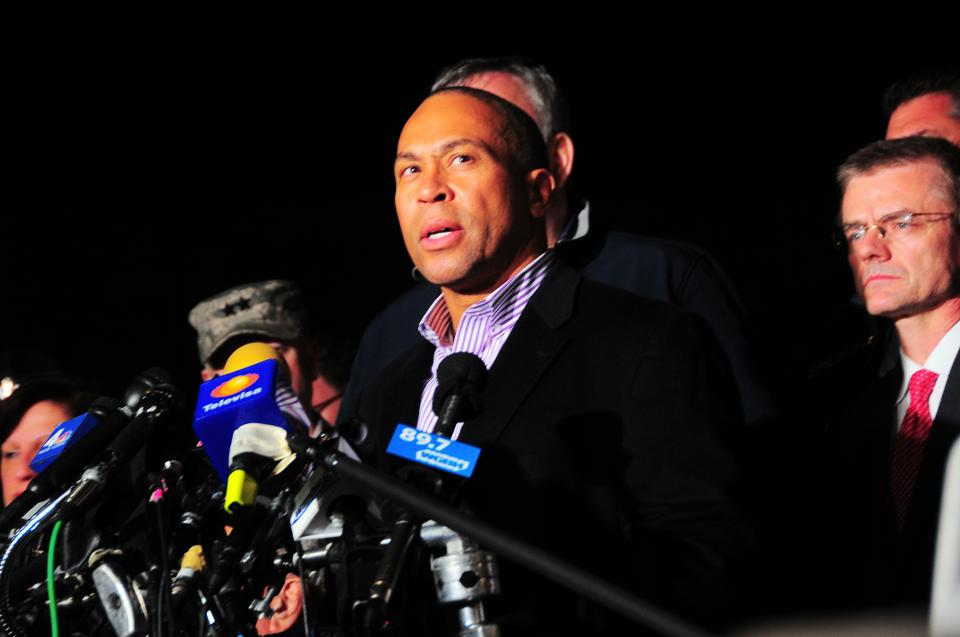 Massachusetts Governor Deval Patrick briefs the media and community on the capture of Dzhokhar Tsarnaev in Watertown on Friday evening.