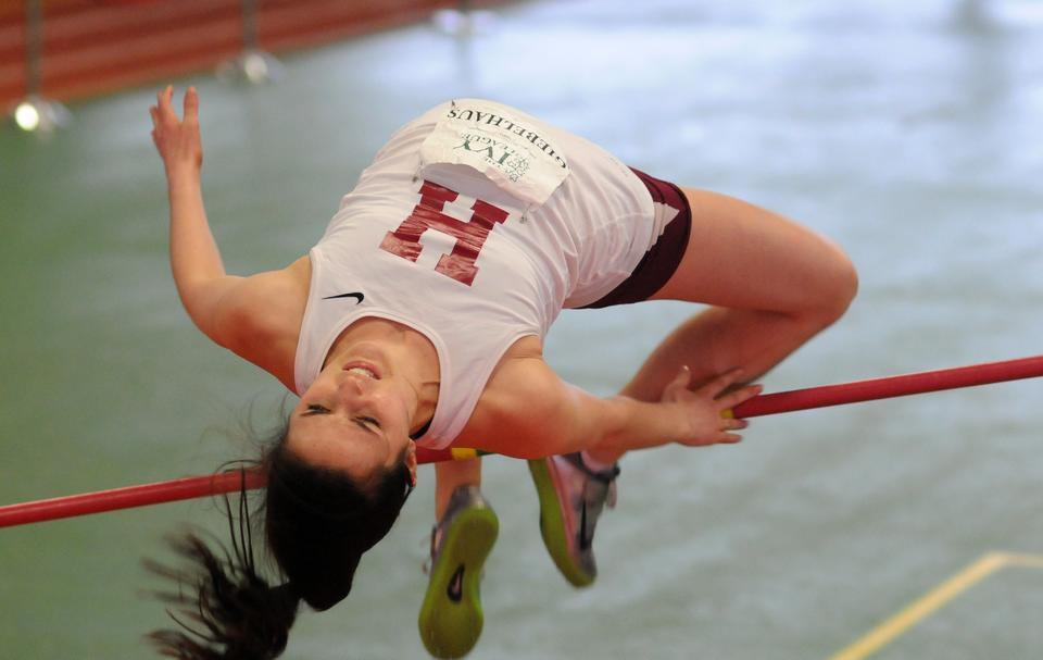 In April's dual meet against Yale, sophomore Ann Giebelhaus was part of a Crimson sweep of the first three positions in the high jump. Giebelhaus' leap over the 1.60-meter beam earned her second place. Classmate Mary Hirst took first place with her leap over the 1.65-meter pole.