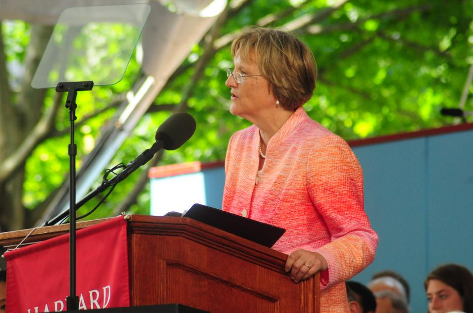 University President Drew G. Faust addresses Harvard graduates, friends, and family members at commencement's afternoon exercises.