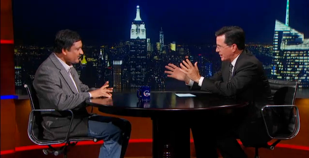 EdX President and MIT professor Anant Agarwal appears on the Colbert Report Wednesday night.