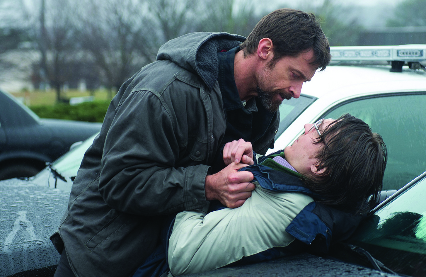 "Hugh Jackman and Paul Dano star in Denis Villeneuve's latest film, ""Prisoners."""