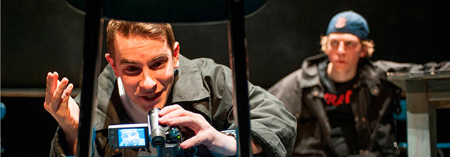 """Matthew Bausone and Eric Folks play teenage Columbine shooters in a production of """"columbinus"""" at Paramount/Emerson Black Box theater."""